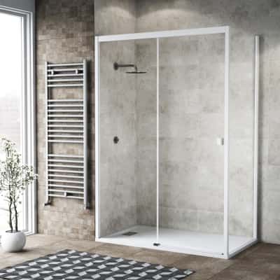 Doccia con porta scorrevole e lato fisso Neo 142 - 146 x 77 - 79 cm, H 200 cm vetro temperato 6 mm trasparente/bianco opaco