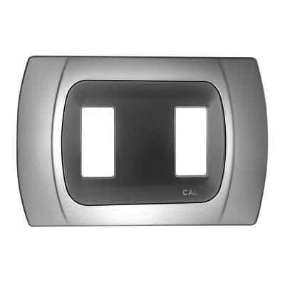 Placca CAL Click-Laser 2 moduli cromo opaco compatibile con magic