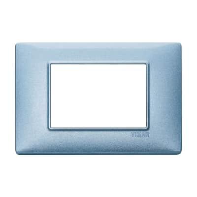 Placca VIMAR Plana 3 moduli blu metallizzato