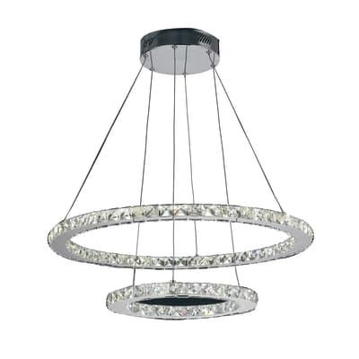 Lampadario Design LED integrato grigio, in metallo, D. 70 cm, 2 luci