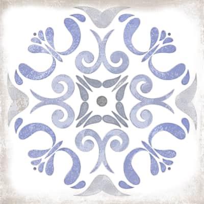 Piastrella per decorazione murale Patine L 15 x H 15 cm blu, bianco, azzurro