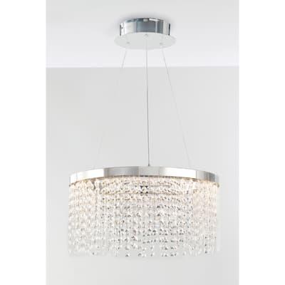Lampadario Glamour LED integrato trasparente, cromo, in cristallo, D. 45 cm