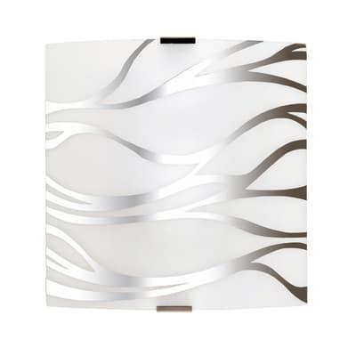 Applique classico Sonny bianco/cromo, in vetro, 24x24 cm,