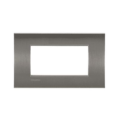 Placca BTICINO Living light 4 moduli acciao spazzolato