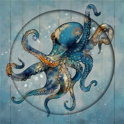 Quadro dipinto a mano Octopus 80x80 cm