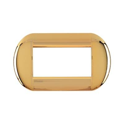 Placca BTICINO Tonda 4 moduli oro
