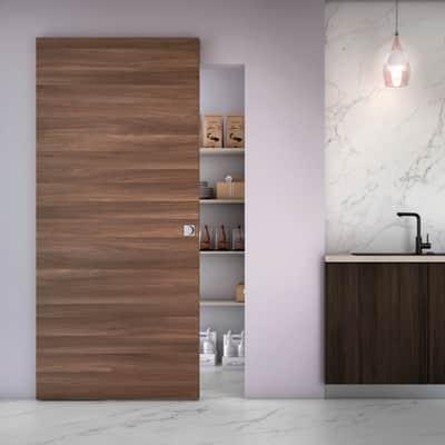 Porta scorrevole con binario esterno Space Cacao Qdra in legno laminato Binario nascosto L 101 x H 230 cm dx