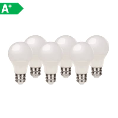 Lampadina LED E27 standard bianco caldo 8.5W = 806LM (equiv 60W) 220° LEXMAN, 6 pezzi