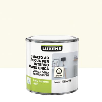 Smalto LUXENS base acqua bianco crema 5 satinato 0.5 L