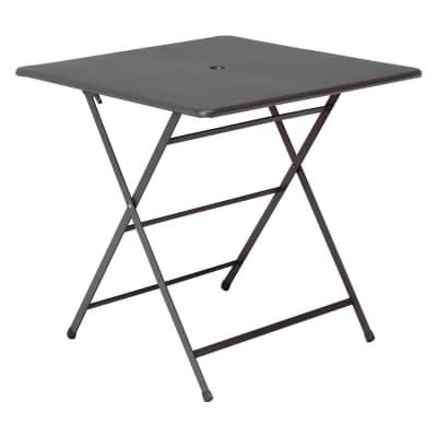 Tavolo da pranzo per giardino quadrato Cassis con piano in acciaio L 76 x P 76 cm