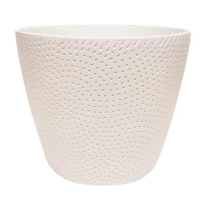 Portavaso Ion ALMAS S.A. in ceramica colore bianco H 11.5 cm, Ø 15 cm