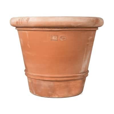 Vaso Liscio bordato in terracotta colore cotto H 100 cm, L 120 x P 120 cm