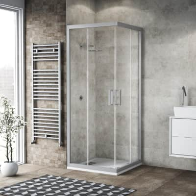 Box doccia scorrevole Charm 80 x 79 cm, H 200 cm in vetro temprato, spessore 6 mm trasparente argento