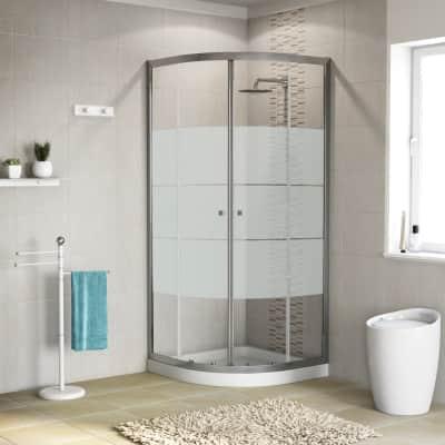 Box doccia stondato scorrevole Dado 89 x 89 cm, H 185 cm in alluminio e vetro, spessore 5 mm serigrafato cromato