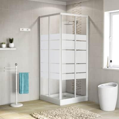 nouveau sélection sensation de confort revendeur Box doccia scorrevole 80 x 80 cm, H 185 cm in alluminio e vetro, spessore 4  mm vetro di sicurezza serigrafato bianco