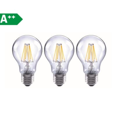 Lampadina Filamento LED E27 goccia bianco caldo 6.5W = 806LM (equiv 60W) 360° LEXMAN, 3 pezzi