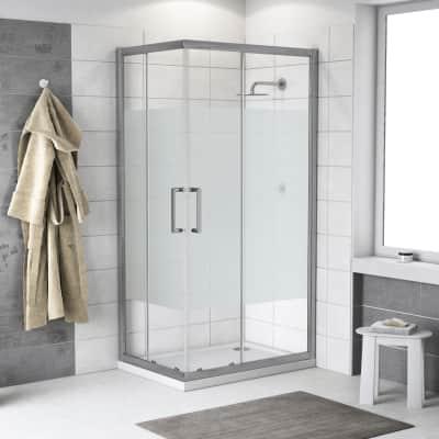 Box doccia scorrevole Quad 120 x 120 cm, H 190 cm in alluminio e vetro, spessore 6 mm vetro di sicurezza serigrafato argento