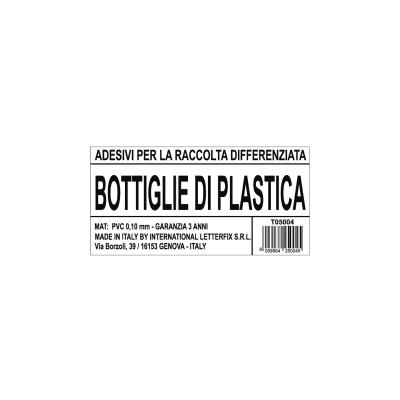 Cartello segnaletico Raccolta diff. bottiglie plastica vinile 12 x 6 cm