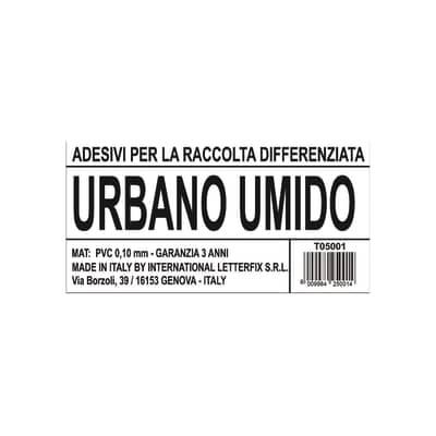 Cartello segnaletico Raccolta diff. umido urbano vinile 12 x 6 cm