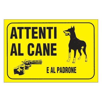 Cartello segnaletico Attenti al cane e al padrone pvc 20 x 30 cm