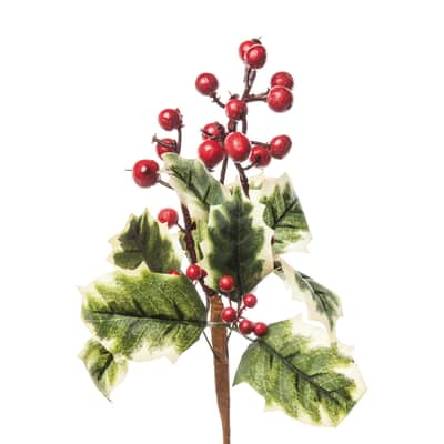 Decorazione per albero di natale Ramo di agrigoglio con bacche in pvc x P 10 cm,