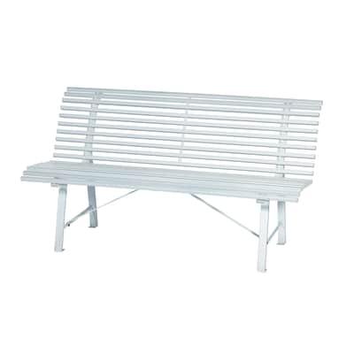 Panca da giardino senza cuscino 3 posti in acciaio Park colore bianco
