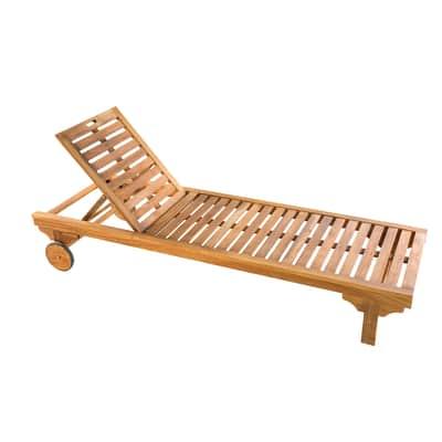 Lettino senza cuscino NATERIAL Sun Lounger in legno marrone