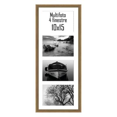 Cornice Diagonal per 4 fotografie 10 x 15  legno sbiancato