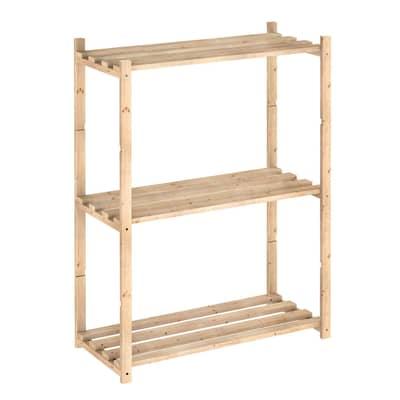 Scaffale in legno in kit 3 ripiani L 65 x P 30 x H 88 cm naturale