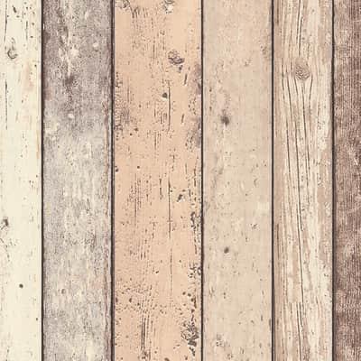 Carta da parati Vintage legno beige