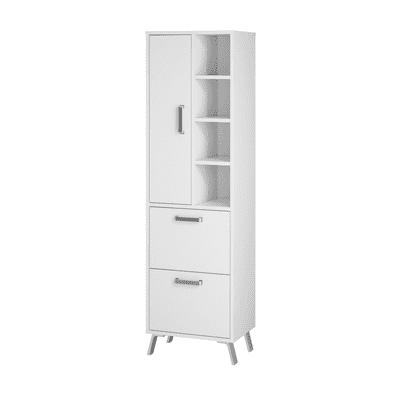 Colonna Brae 2 cassetti 1 anta L 50 x P 35 x H 174 cm bianco laccato