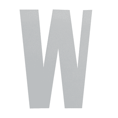 Lettera W adesivo, 7.5 x 5 cm