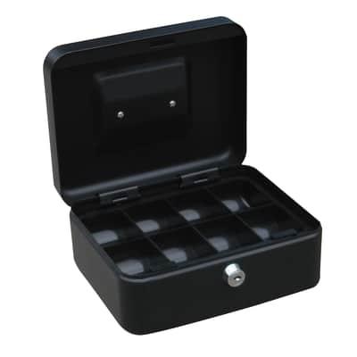 Cassetta porta valori in acciaio grigio scuroL 20 x P 16 x H 9 cm