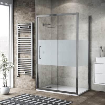 Box doccia scorrevole 155 x 80 cm, H 195 cm in vetro, spessore 6 mm serigrafato argento
