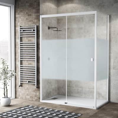 Box doccia scorrevole 130 x 80 cm, H 200 cm in vetro, spessore 6 mm serigrafato bianco