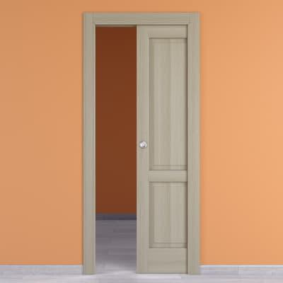Porta scorrevole a scomparsa Vermeer rovere sbiancato L 80 x H 210 cm destra