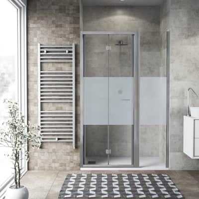 Box doccia pieghevole 110 x 70 cm, H 195 cm in vetro, spessore 6 mm serigrafato argento