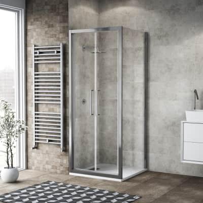 Box doccia battente 80 x 80 cm, H 195 cm in vetro, spessore 6 mm trasparente argento
