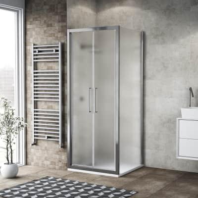 Porta doccia 100 x 80 cm, H 195 cm in vetro, spessore 6 mm spazzolato argento