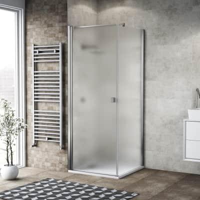 Box doccia battente 120 x 80 cm, H 200 cm in vetro, spessore 6 mm spazzolato cromato