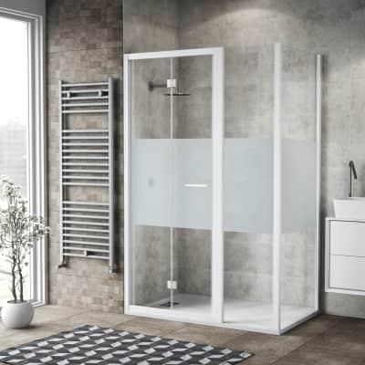 Box doccia pieghevole 135 x , H 195 cm in vetro, spessore 6 mm serigrafato bianco