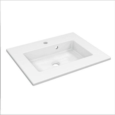 Lavabo consolle rettangolo Neo Moon L 61 x P 49 x H 11.2 cm in ceramica bianco
