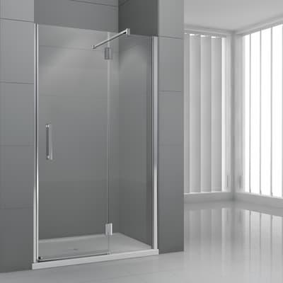 Porta doccia battente Modulo 120 cm, H 195 cm in vetro temprato, spessore 6 mm trasparente cromato