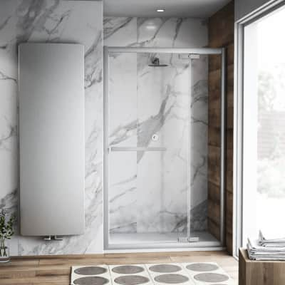 Porta doccia battente Namara 160 cm, H 195 cm in vetro temprato, spessore 8 mm trasparente satinato