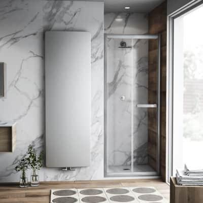 Porta doccia pieghevole Namara 95 cm, H 195 cm in vetro temprato, spessore 8 mm trasparente satinato