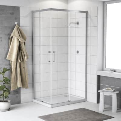 Box doccia scorrevole Remix 120 x 120 cm, H 195 cm in alluminio e vetro, spessore 6 mm trasparente cromato