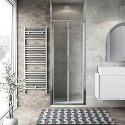 Porta doccia battente Record 95 cm, H 195 cm in vetro temprato, spessore 6 mm trasparente argento