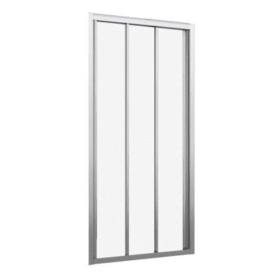 Porta doccia scorrevole Oceania 115 cm, H 195 cm in vetro temprato, spessore 4 mm trasparente argento