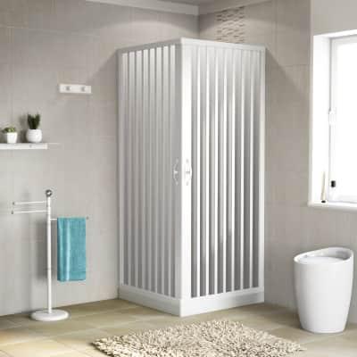 Box doccia quadrato Playa 70 x 80 cm, H 185 cm in pvc, spessore 2 mm vetro di sicurezza serigrafato bianco