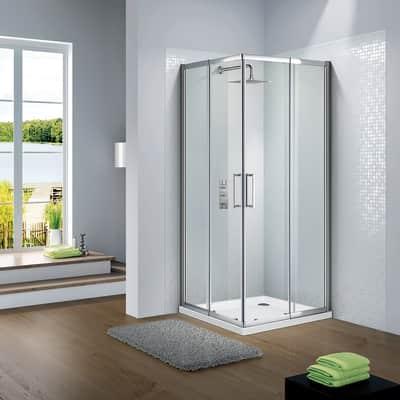 Box doccia quadrato scorrevole Slimline 100 x 100 cm, H 190 cm in vetro, spessore 6 mm trasparente argento